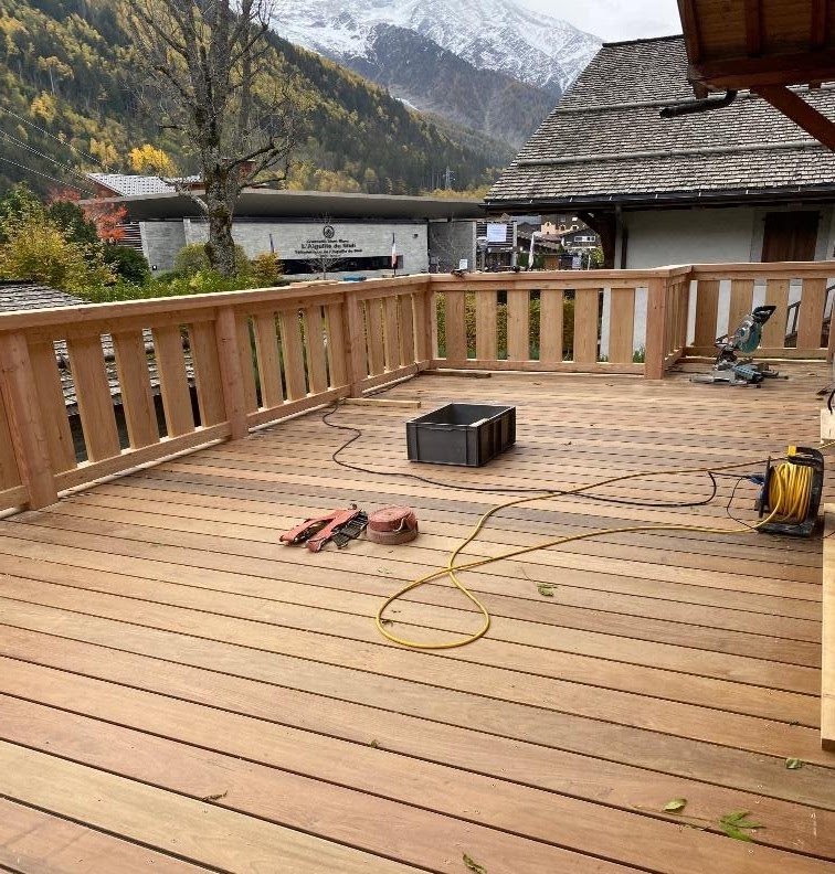 The deck being finished