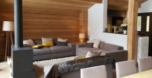 Refitted living area of chalet
